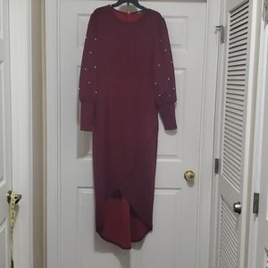 Shein long sleeve red with pearls dress